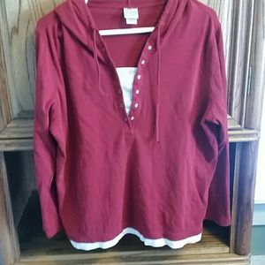 Tops - 14/16W layered-look red hooded shirt